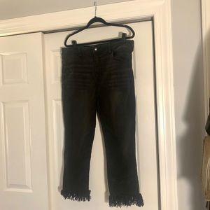 American Eagle Black Fringe Jeans
